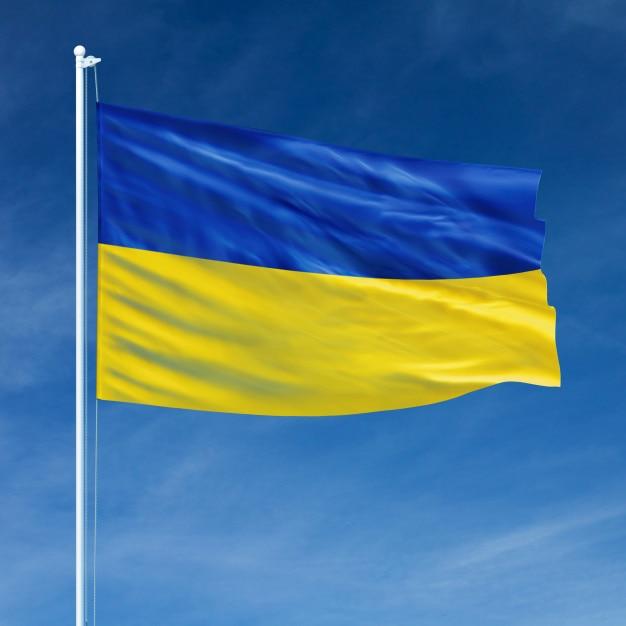 Ukraine flag flying Premium Photo