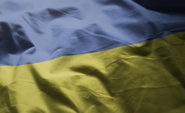 Ukraine flag rumpled close up Premium Photo