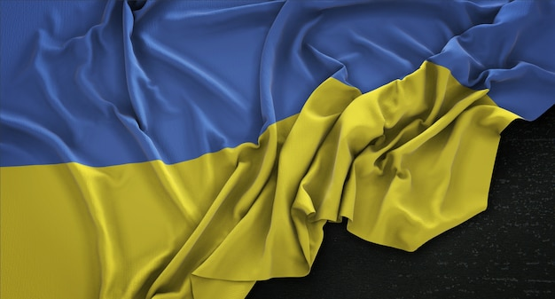 Флаг украины, сморщенный на темном фоне 3d render Бесплатные Фотографии