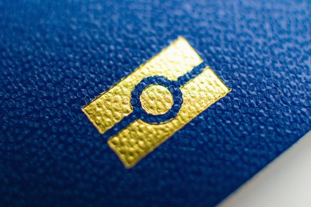 Ukraine passport element close up Premium Photo