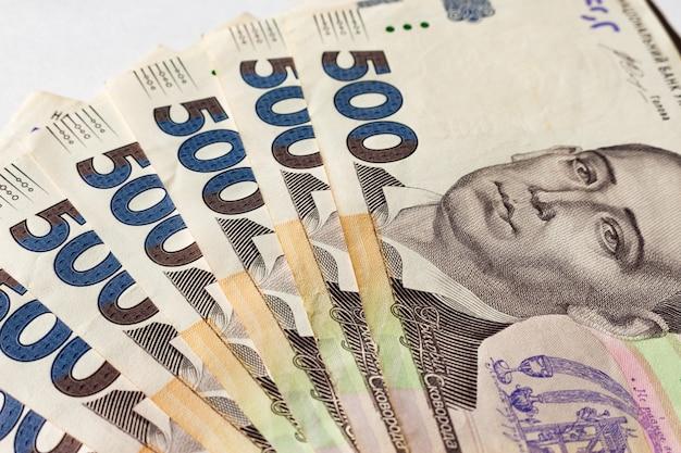 Ukrainian money. five hundred hryvnias. close-up photo Premium Photo