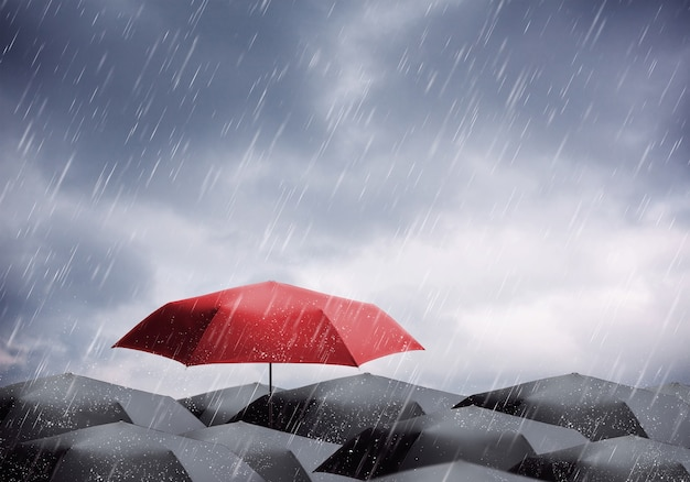 Umbrellas under rain and thunderstorm Premium Photo