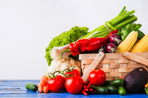 Uncooked vegetables in basket Free Photo