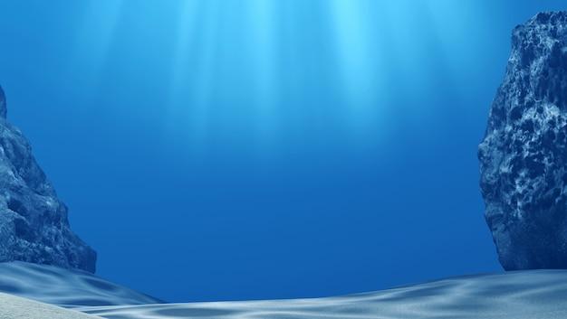 Под водой с лучами солнца и камнями в глубоком синем море, 3d-рендеринг Premium Фотографии