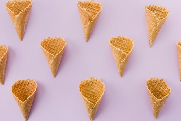Unfilled short waffle ice cream cornet Free Photo