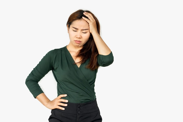 Unhappy asian woman upset moody with serious face Premium Photo