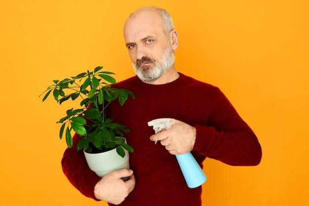 Un uomo anziano infelice scontento con la barba che è arrabbiato perché la moglie gli ha fatto prendere cura delle piante d'appartamento. Foto Gratuite