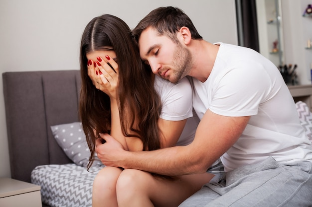 Unhappy married couple and sexual problems Premium Photo