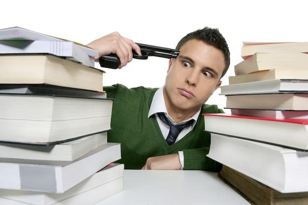 Unhappy sad student suicide gun metaphor Premium Photo