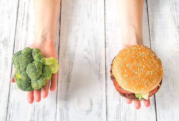 Unhealthy vs healthy food Premium Photo