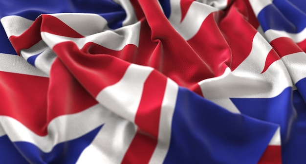 United Kingdom Flag Ruffled Beautifully Waving Macro Close-Up Shot Free Photo