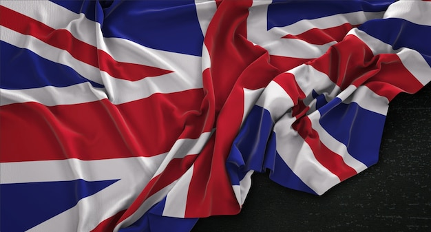 United Kingdom Flag Wrinkled On Dark Background 3D Render Free Photo