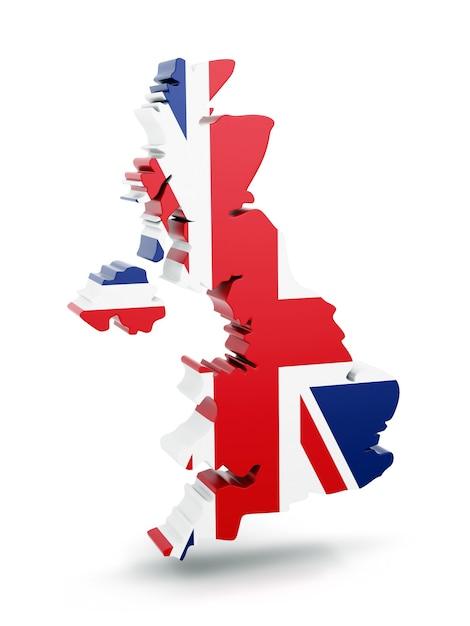 Карта соединенного королевства с текстурой флага, изолированные на белом фоне. Premium Фотографии
