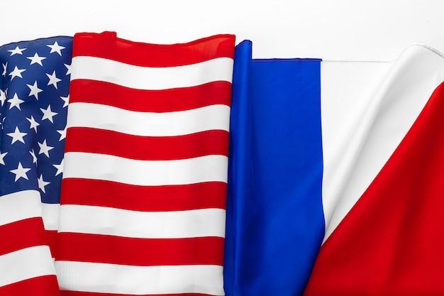 United states of america flag and france  flag Premium Photo