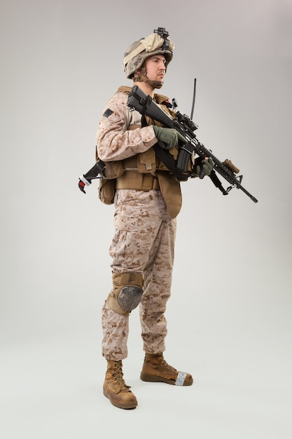 United states marine corps special operations command  raider with weapon. Premium Photo