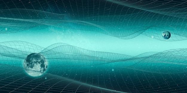 우주 및 구조 라인 미래 테이블 기하학적 우주 메쉬 판타지 하늘 사이버 공간 풍경 3d 일러스트 프리미엄 사진