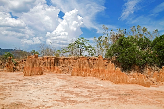 Unseen thailand,sculpture beautiful natural wonders of the collapse of the sandy ground in lalu park at ta phraya, sa kaeo, thailand Premium Photo