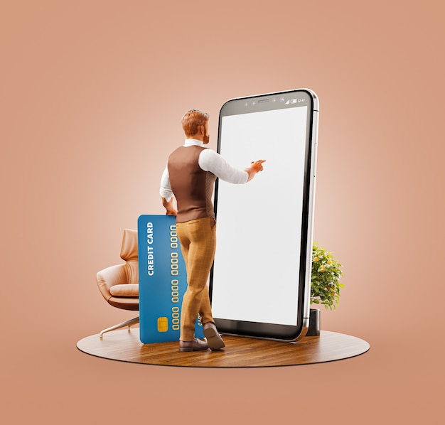Unusual 3d illustration of a young man with credit card standing at big smartphone in office and us