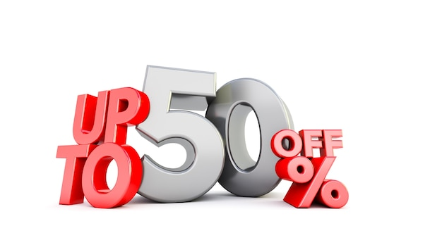 Up to 50% fifty off word isolated. special offer 50% discount Premium Photo