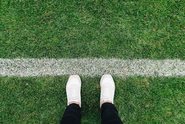 Up of grass and marks on football or soccer field 2019 Premium Photo