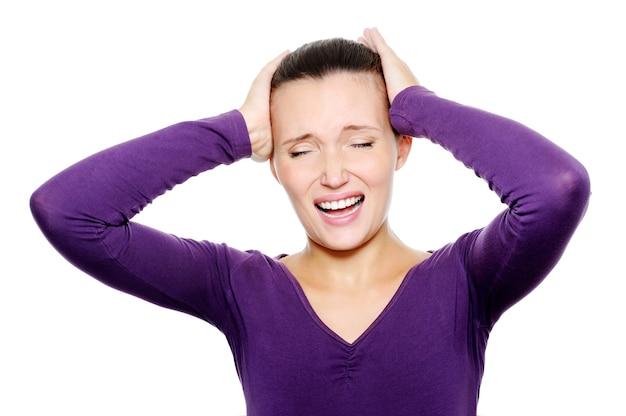 Расстроенная женщина с сильной головной болью Бесплатные Фотографии
