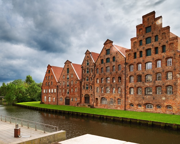 Urban landscape of city of lubeck. museum holstentor in old historical building. Premium Photo