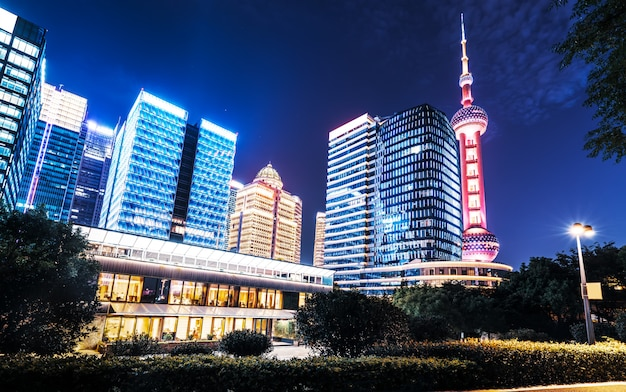 Urban nightscape and architectural landscape in shanghai Premium Photo