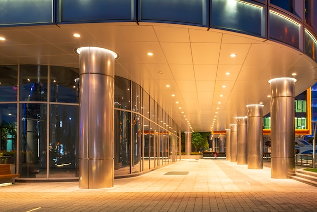 Urban nightscape glass wall modern architecture Premium Photo