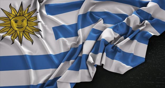 uruguay-flag-wrinkled-dark-background-3d