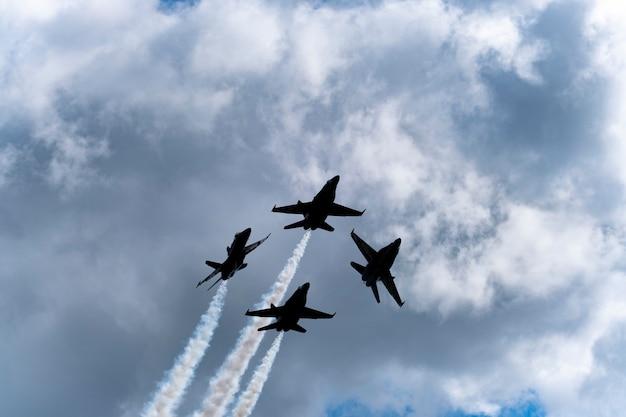 Us blue planes perform in air show Premium Photo