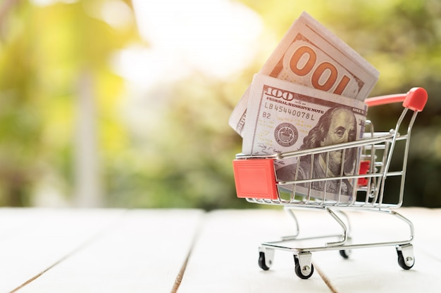 Us dollar banknote in the shopping cart on the wood. love shopping concept Premium Photo