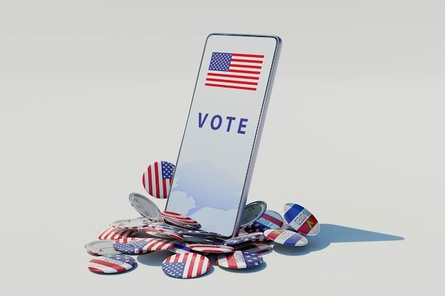 Concetto di elezioni degli stati uniti con la bandiera dell'america Foto Gratuite