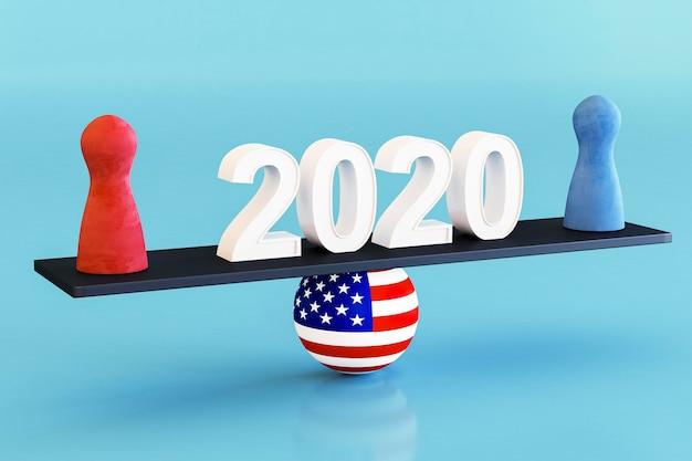 Concetto di elezioni degli stati uniti con la bandiera americana Foto Gratuite