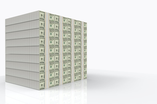 Us hundred dollar banknote stack on copy sapce gray background Premium Photo