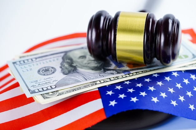 Usa america flag country with judge hammer. law and justice court concept. Premium Photo