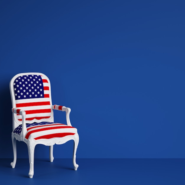 Usa flag chair on blue room with copy space. 3d rendering Premium Photo