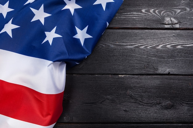 Usa flag on dark wooden table background Premium Photo