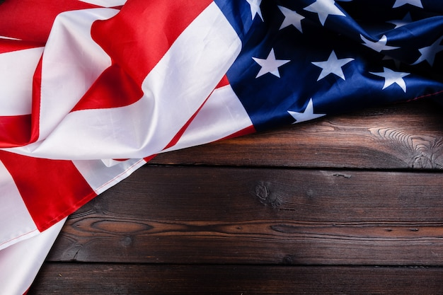 Usa flag on dark wooden table background Premium Photo