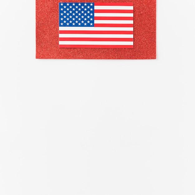 Usa flag on red velvet Free Photo