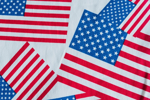 Usa flags printed on fabric Free Photo