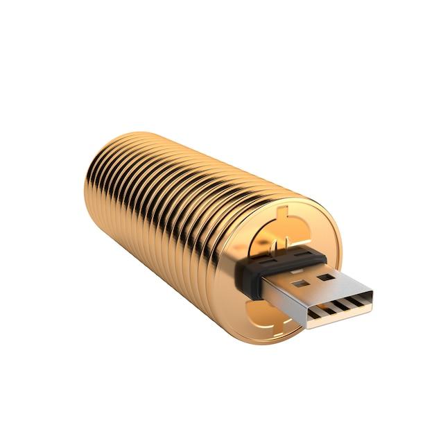 Usb flash drive gold isolated on white background. Premium Photo