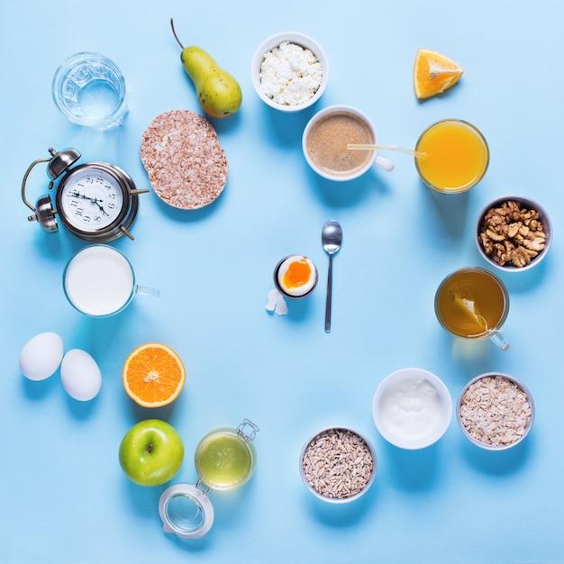 Useful colorful breakfast coffee milk tea fruits Premium Photo