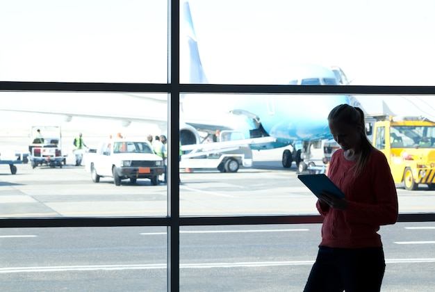 Using pad at the airport Premium Photo