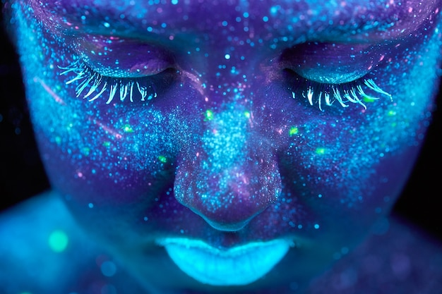 Uv painting of a universe on a female body portrait Premium Photo