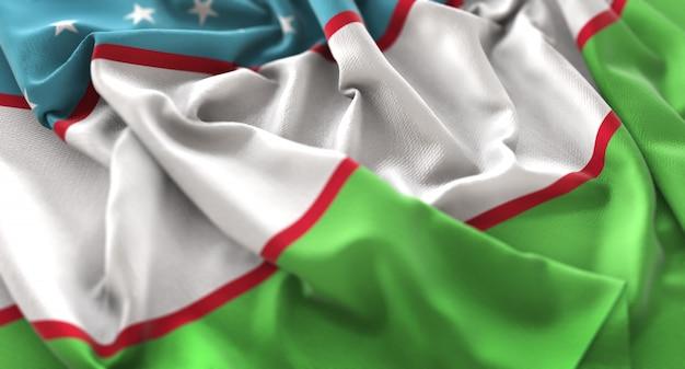 Флаг узбекистана украл красиво махающий макрос крупным планом Бесплатные Фотографии