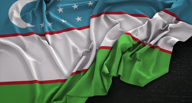 Флаг узбекистана, сморщенный на темном фоне 3d render Бесплатные Фотографии