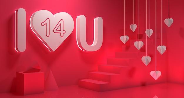 Valentine day banner background. geometry 3d rendering. Premium Photo