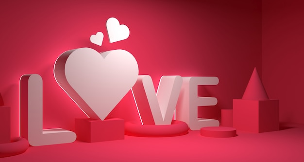 Valentine day banner background. geometry 3d rendering. Premium Photo