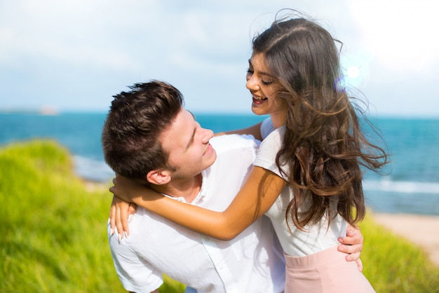 In valentine day happy young couple at outdoors Premium Photo