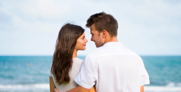 In valentine day young couple at outdoors Premium Photo